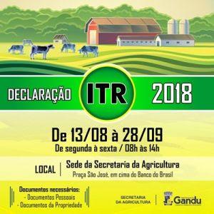 Resultado de imagem para Secretaria da Agricultura de Gandu inicia Campanha de Declaração do ITR.