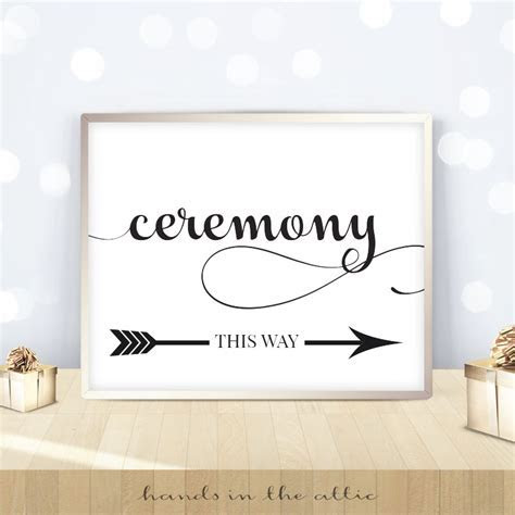 Black & White   Flourish Script   Ceremony This Way Sign