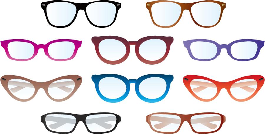 フリーイラスト 10種類の眼鏡のセットでアハ体験 Gahag 著作権