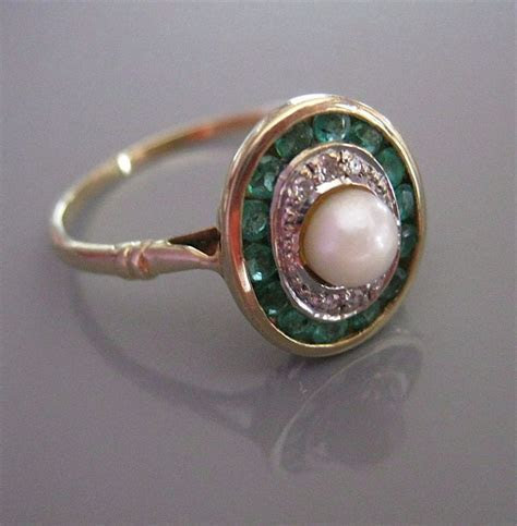 Antique DIAMOND EMERALD PEARL Gold Edwardian Art Deco Ring