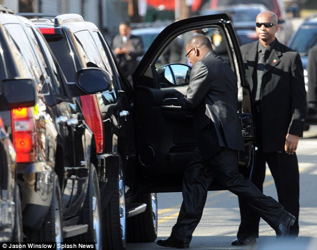 Driven off: Earlier in the day Brown was seen leaving Houston's funeral shortly after arriving. He stormed out after becoming 'frustrated' over seating arrangements and wanted to sit in the front row with daughter Bobbi Kristina