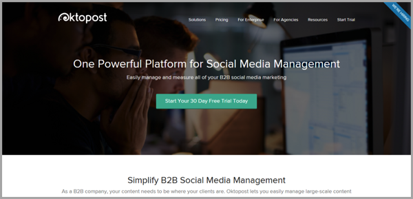 Oktopost - example of social media management tools
