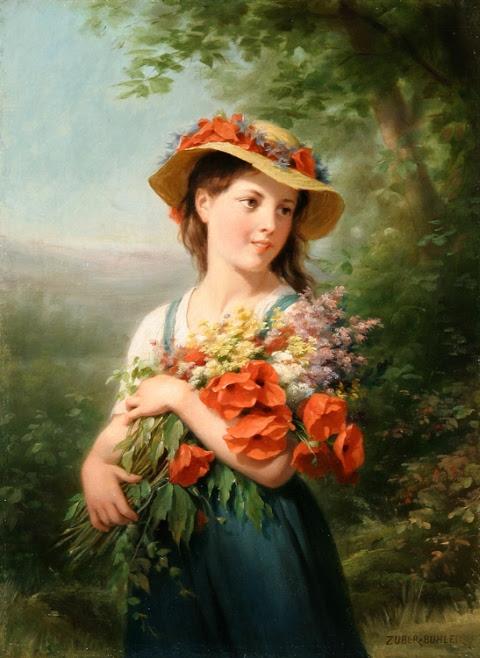 Jeune fille au bouquet de fleurs des champs