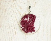 Textile necklace with burgundy lace in vintage style - oxblood jewelry - skrynka