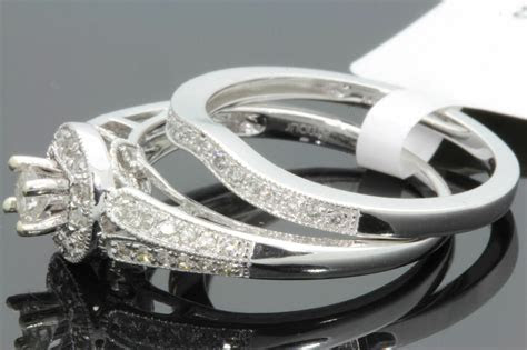 10K WHITE GOLD .48 CARAT WOMENS REAL DIAMOND ENGAGEMENT