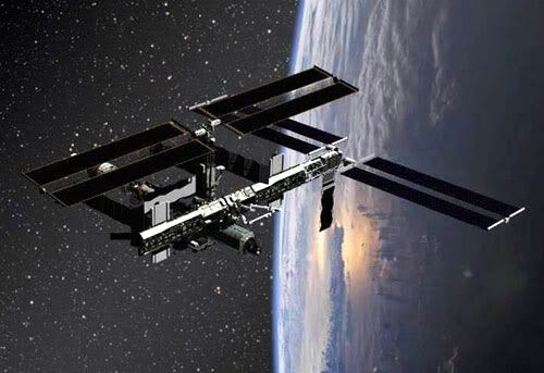 An artist's rendition of the ISS in orbit.