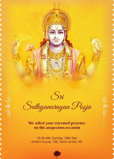 Satyanarayana Swamy pooja invitation. #houswarming #pooja