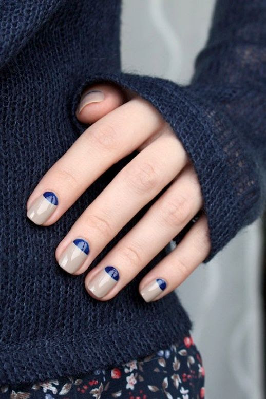 Le Fashion Blog DIY Nail Art Navy And Taupe Half Moon Manicure Dark Blue Knit Floral Print Pants Via Muxe
