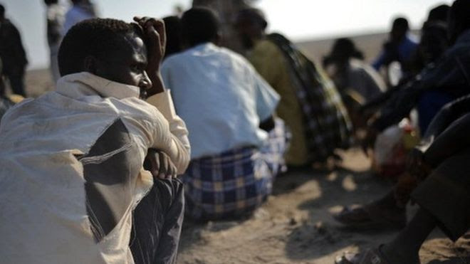 Ethiopian immigrants from the Oromo region in Djibouti on 5 December 2010