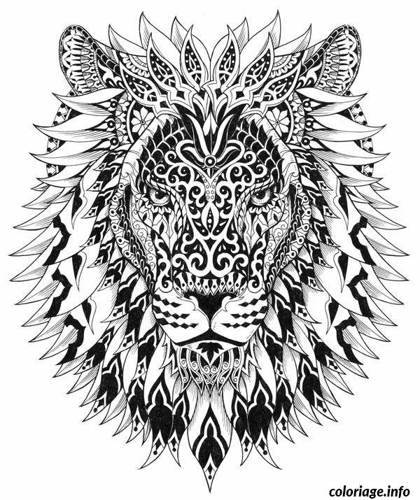 Coloriage Difficile Adulte Lion Jecoloriecom