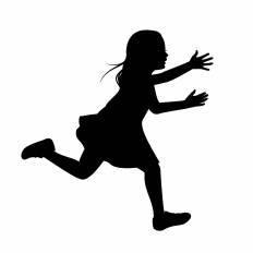 走る女の子シルエット イラストの無料ダウンロードサイトシルエットac