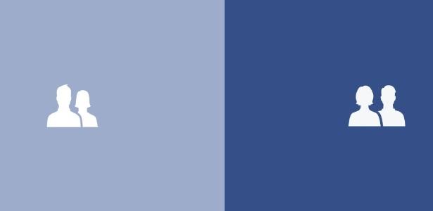 """Designer mudou ícone """"amigos"""" da rede; à esquerda, o antigo; à direita, o novo com homem e mulher """"iguais"""""""