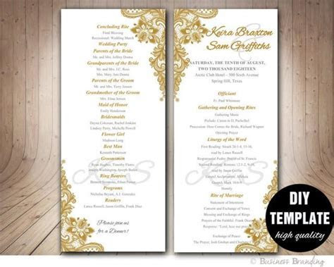 Gold Wedding Program Template DI, Instant Download Elegant