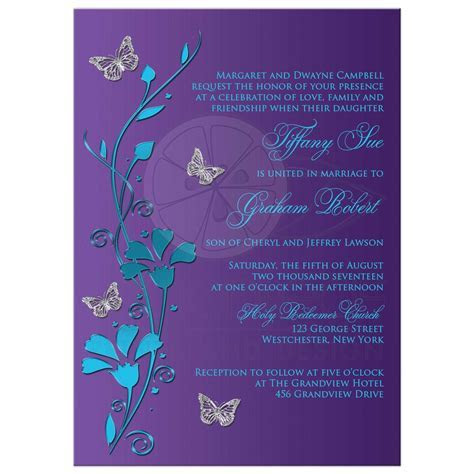 Wedding Invitation   Turquoise Blue, Purple, Silver