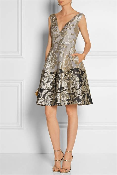 Lela Rose   Metallic matelassé dress   NET A PORTER.COM