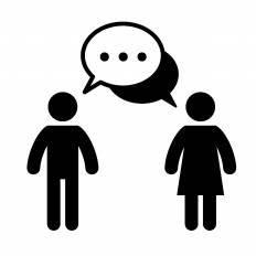 会話する男女シルエット イラストの無料ダウンロードサイト