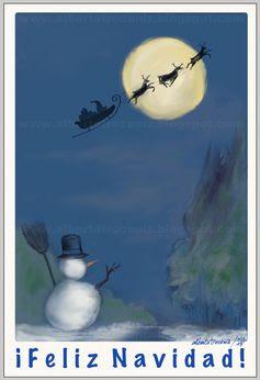 CHRISTMAS DEL 2015/ ¡FELIZ NAVIDAD!…le deseo a la familia y los amigos con Papá Noel, con muñeco de nieve, con árbol adornado, con pesebre: Niño Jesús con San José y la Virgen, la mula y buey, un ángel con trompeta, Estrella de Belén y los pastores, un caganet (que figura Mariano), el corcho y el serrín, nieve de harina, papel de plata corriendo en riachuelo desde un molino que se mueve por pilas, los Reyes Magos…—> http://albertotroconiz.blogspot.com.es/2015/12/christmas-de-navidades-2015.html