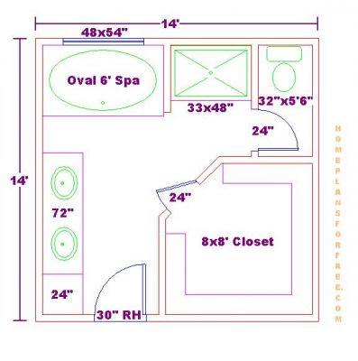 Walk Closet Design Ideas on Free 14x14 Master Bathroom Floor Plan With Walk In Closet