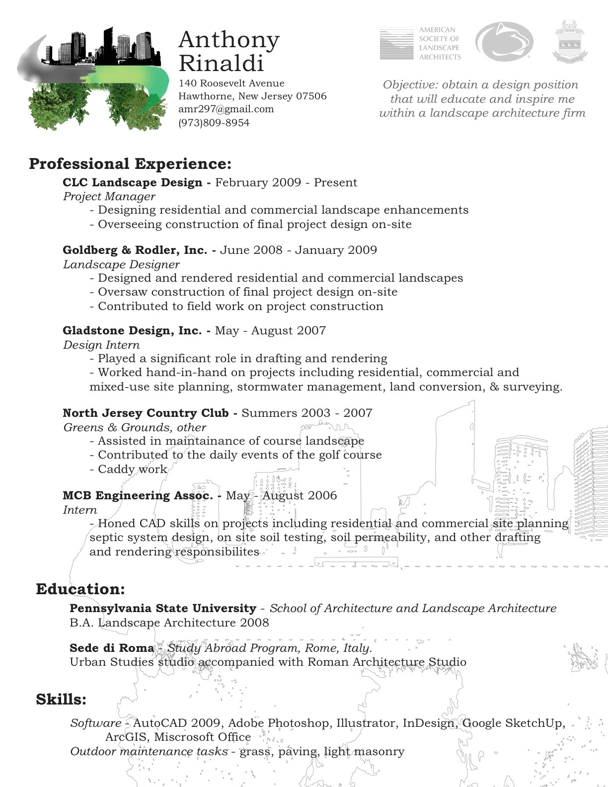 be one  landscaping resume samples