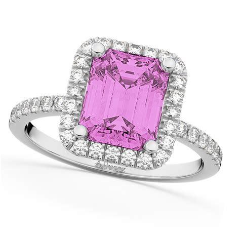 Pink Sapphire & Diamond Engagement Ring 18k White Gold 3