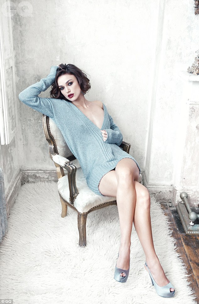 Leggy lady: Keira shows off her enviable figure in the sexy new shots, which see her wear very little