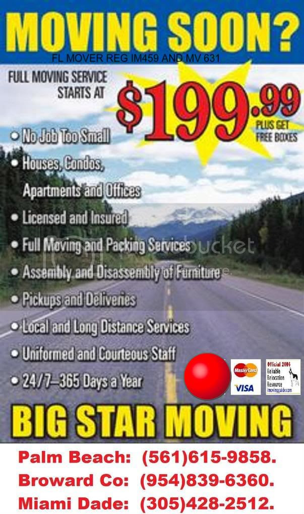 BIG STAR MOVING $199 Moving Special