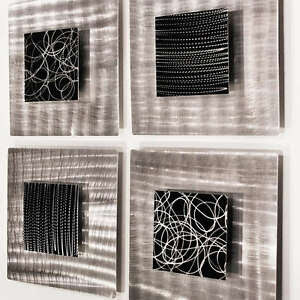 Modern Abstract Black Silver Metal Accent Wall Decor ...