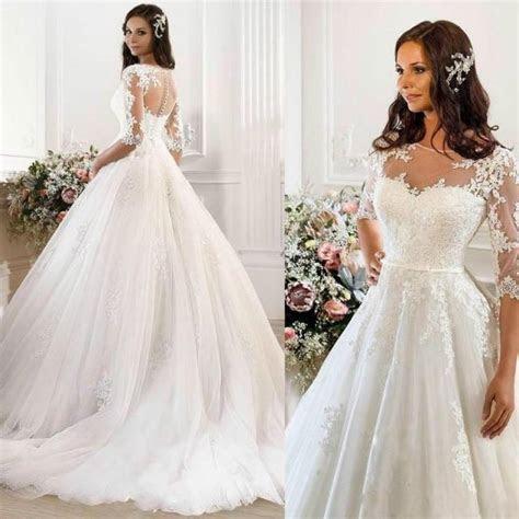 Vintage Wedding Dresses 2015 Cheap Illusion Applique