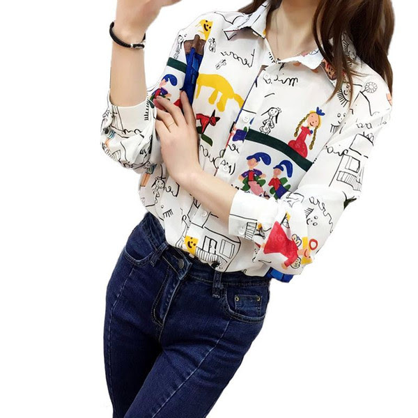 women fashion cute cartoon graffiti pattern chiffon loose blouse long sleeve shirts ladies streetwear casual tops LT874