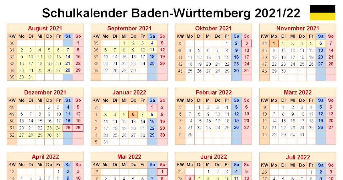Ferien Bw 2021 : Schulkalender 2020 Ferien Bw 2021 / Excel ...