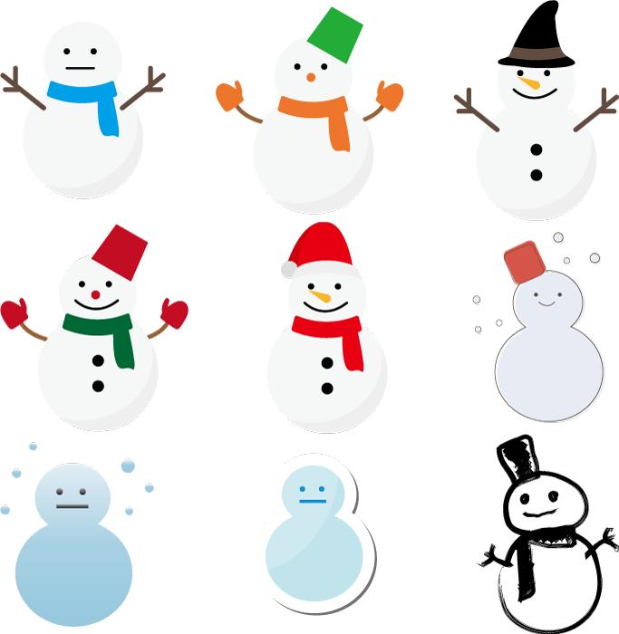 フリーイラスト 9種類の雪だるまのセットでアハ体験 Gahag 著作権