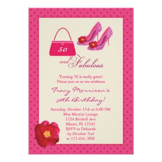 50 and Fabulous Fashion Birthday Invitation