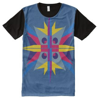 Men's Panel T-Shirt with Star Design All-Over Print T-shirt
