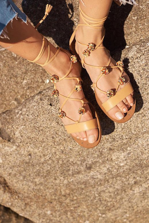 Le Fashion Blog Must Have Raffia Pom Pom Nude Sandals Via Madewell
