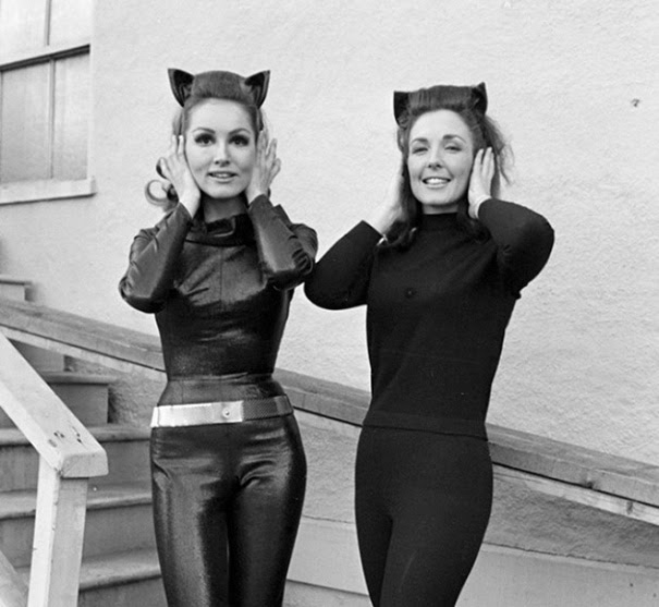 Julie Newmar And Her Stunt Double On The Set Of The Batman TV Series
