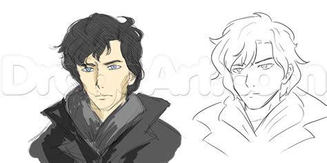 draw semi realistic people sherlock holmes step