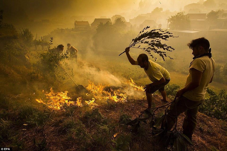 Voltar no continente europeu, estes moradores usam batedores e até mesmo galhos para tentar estancar um incêndio em Soutomayer no noroeste da Espanha