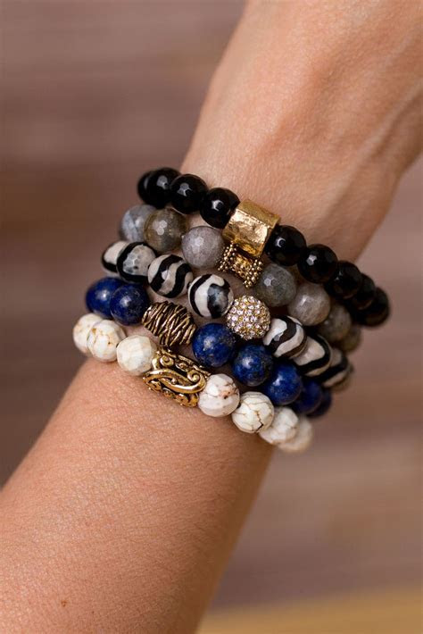 blue  black bracelet stack bracelet designs gemstone