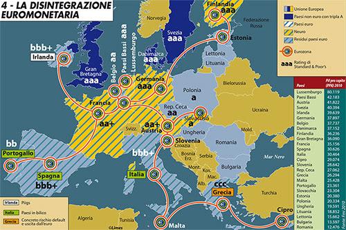 """Carta di Francesca La BarberaLa carta illustra l'agonia dell'euro, evidenziando i Piigs (Portogallo, Irlanda, Italia, Grecia, Spagna) e classificando i paesi secondo il rating di Standard & Poor's.I paesi """"Neuro"""" sono gli Stati ricondotti al progetto di  creare un club della valuta unica ristretto ai membri più virtuosi. Le  nazioni europee sono anche elencate in ordine decrescente di pil pro  capite calcolato secondo la parità del potere d'acquisto (dato ufficiale  del Fondo monetario internazionale aggiornato al 2011). Carta tratta dall'editoriale """"L'impossibilità di essere normali"""" di Limes 3/2012 """"La Francia senza Europa""""."""