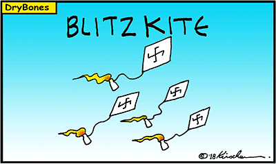 Dry Bones cartoon, Gaza, fires, kites, Palestinian Arabs,