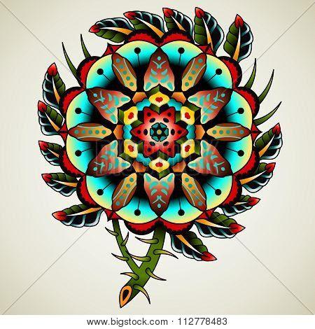Old School Tattoo Flower Poster Id112778483