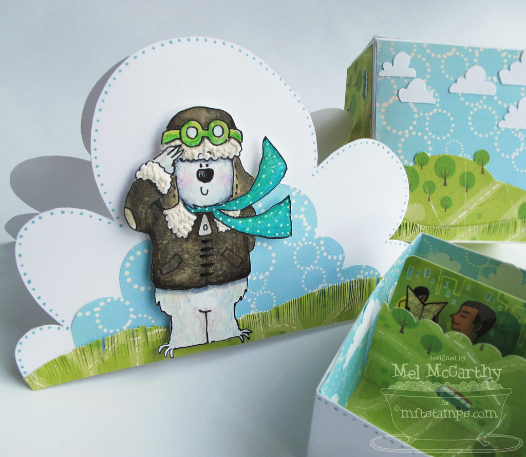 MFT Fred Bear in Flight cloud card mel stampz