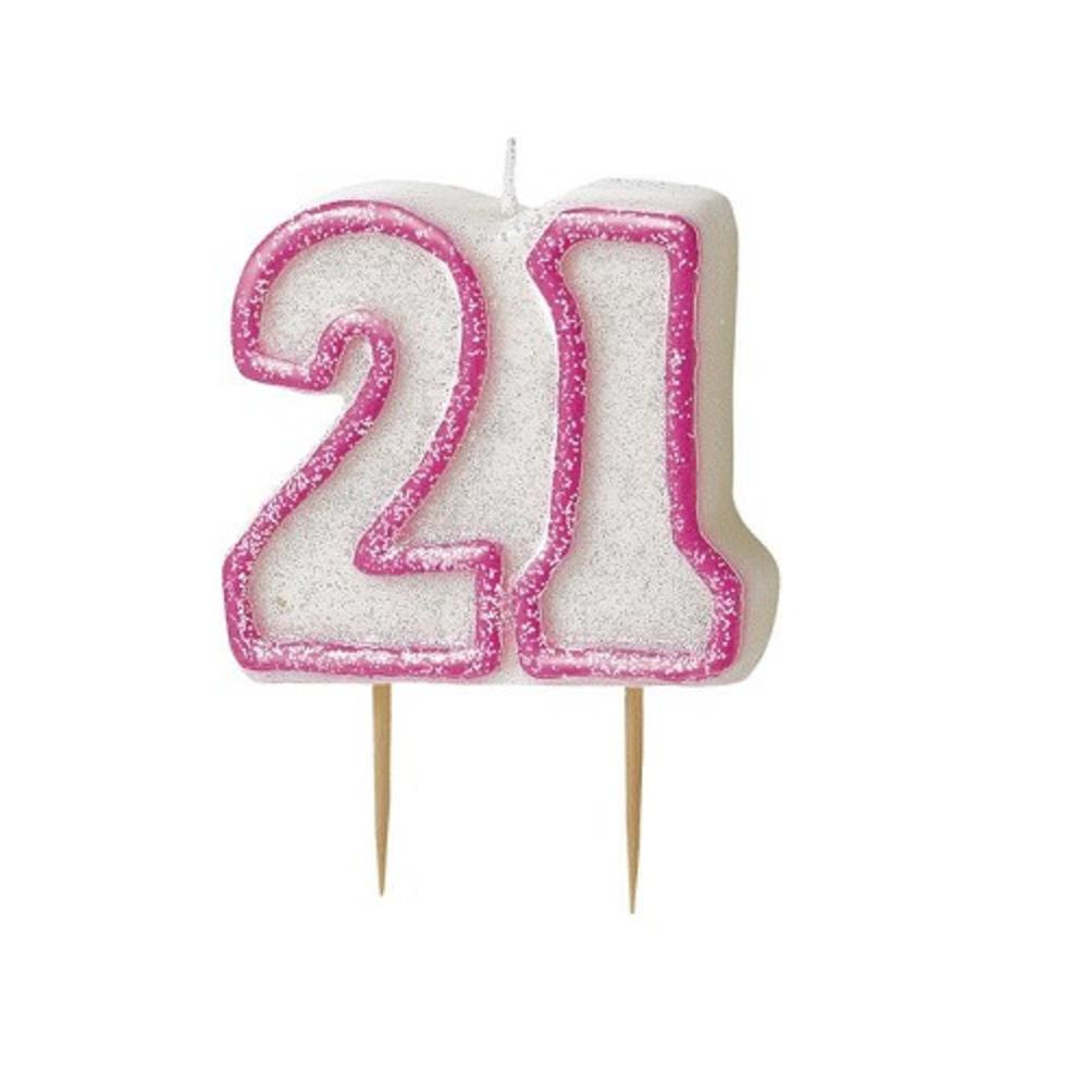 Pink Glitz Number 21 Candle 21st Birthday Cake Candles ...
