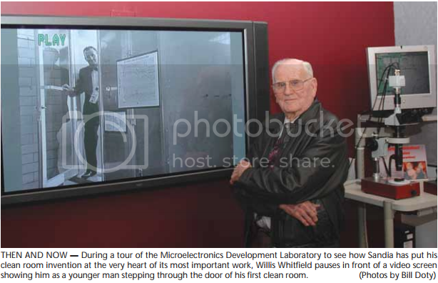 Willis Whitfield, in 2005, in front of a picture of him from the early 1960s (swiped from Sandia Labs News)