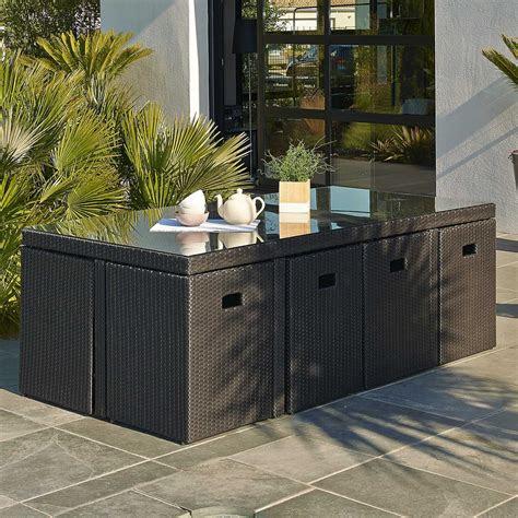 salon de jardin encastrable resine tressee noir  table
