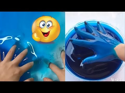 ASMR Video Most Satisfying Videos Blue Ocean Colored Slime And More 2020...
