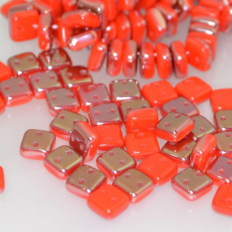 s41907 Glass Beads - 2 Hole Chexx Squarelets - Orange Coral Celsian (25)