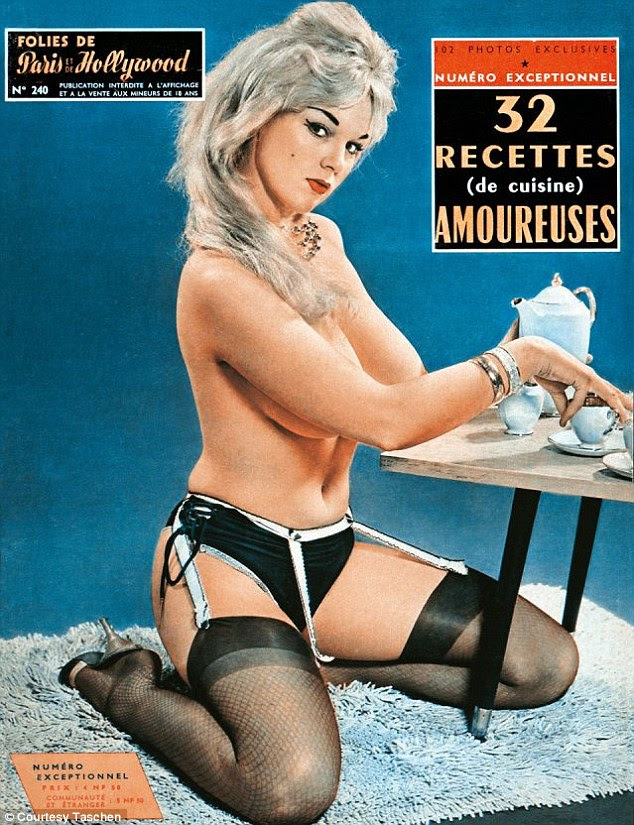 No more illustrations: 'Men became accustomed to photographic pin-ups during the war and preferred these more realistic representations of women afterwards,' explains Mr Hanson (pictured, a cover from the Sixties)