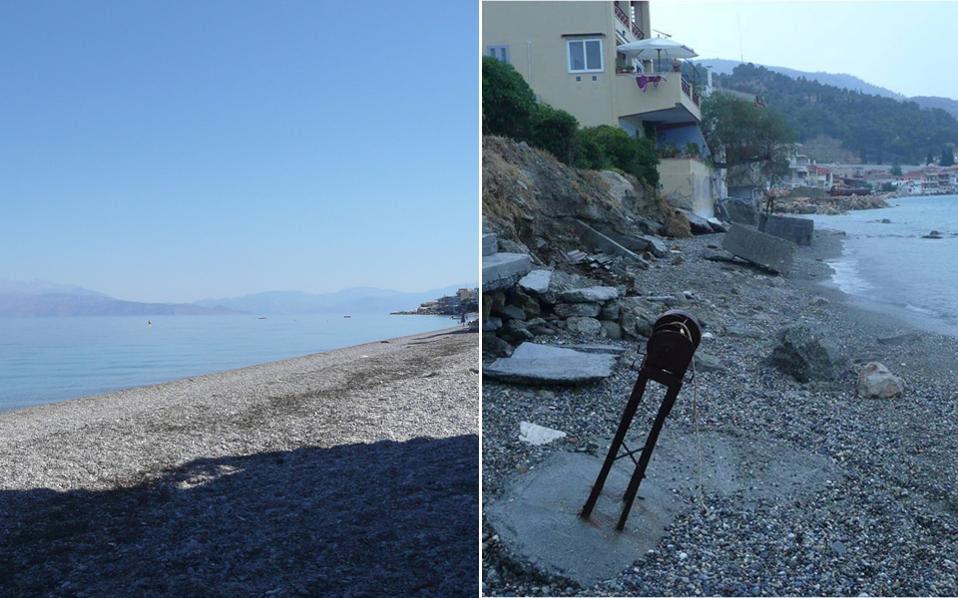 Μέχρι πριν από λίγα χρόνια, η παραλία μπροστά από τα σπίτια στο Δερβένι Κορινθίας είχε αρκετά μέτρα πλάτος (αριστερά). Σήμερα, μετά την υποθαλάσσια κατολίσθηση του 2012, η παραλία έχει σχεδόν εξαφανιστεί (δεξιά).