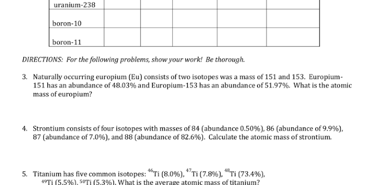 Isotope Practice Worksheet Answers With Work